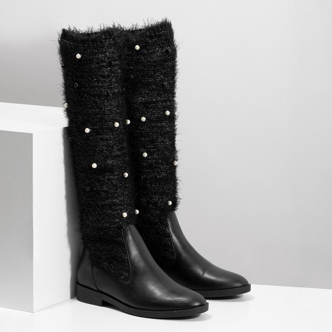Czarne kozaki zperełkami bata, czarny, 599-6619 - 26