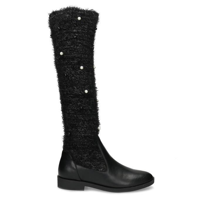 Czarne kozaki zperełkami bata, czarny, 599-6619 - 19