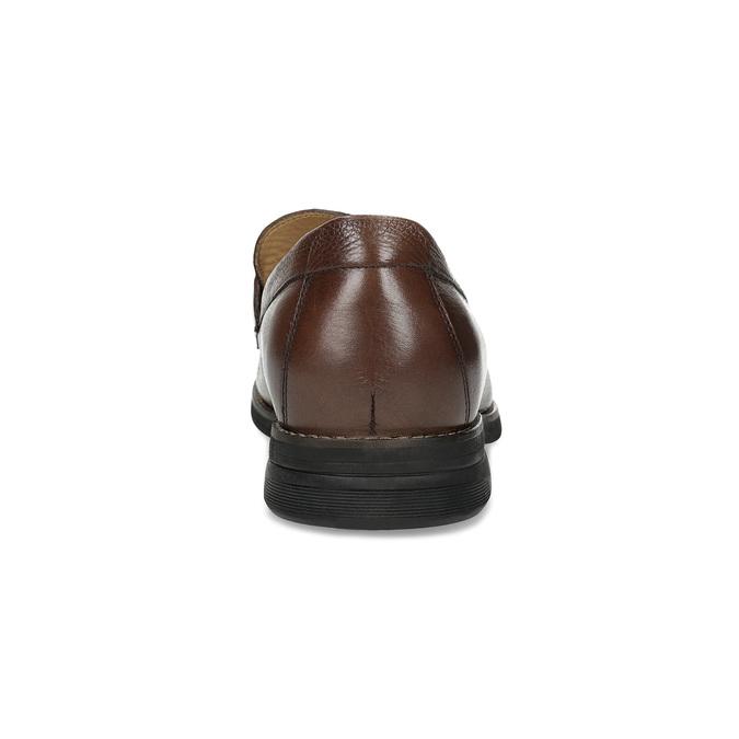Brązowe skórzane mokasyny wstylu penny loafers comfit, brązowy, 814-3627 - 15