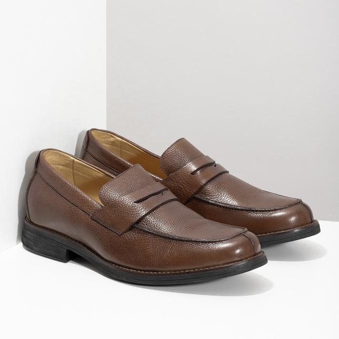 Brązowe skórzane mokasyny wstylu penny loafers comfit, brązowy, 814-3627 - 26