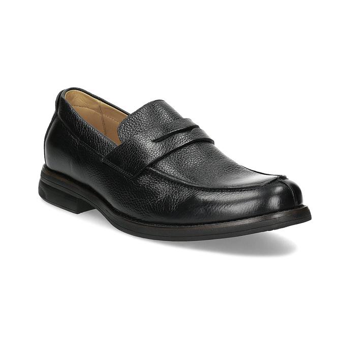 Czarne skórzane mokasyny wstylu penny loafers comfit, czarny, 814-6627 - 13