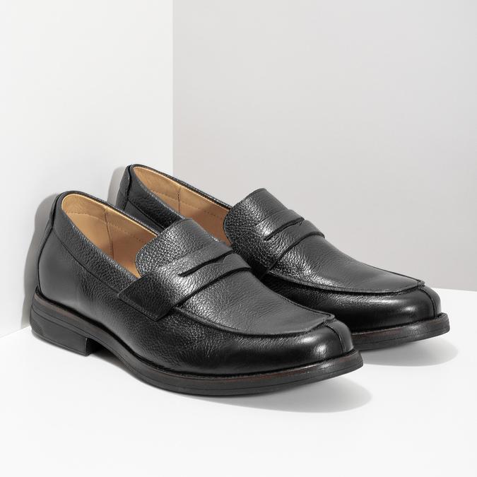 Czarne skórzane mokasyny wstylu penny loafers comfit, czarny, 814-6627 - 26