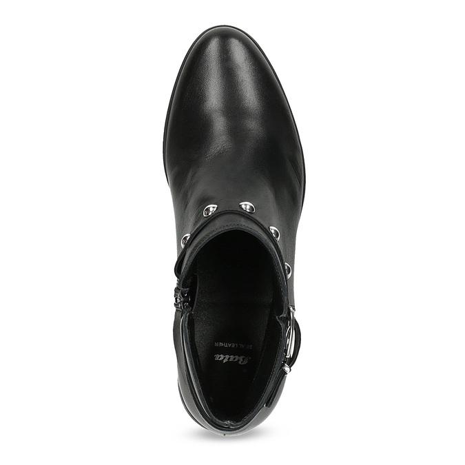 Skórzane botki zmetalowymi ćwiekami bata, czarny, 594-6668 - 17