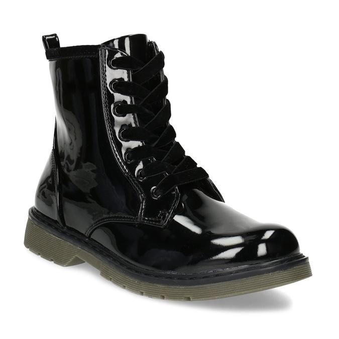 Czarne lakierowane botki dziewczęce mini-b, czarny, 391-6259 - 13