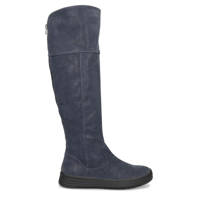 Granatowe kozaki damskie zprzeszyciami bata, niebieski, 691-9636 - 19