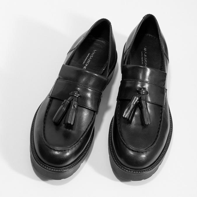 Czarne skórzane mokasyny zchwostami vagabond, czarny, 614-6056 - 16