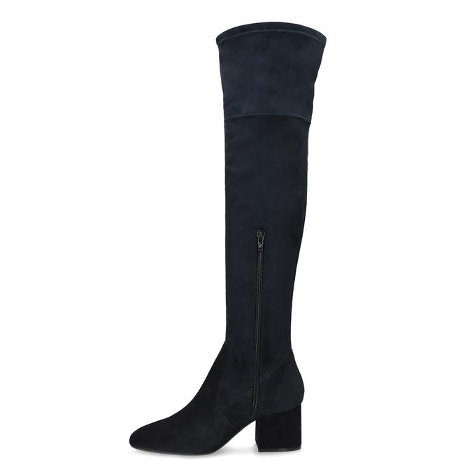 Granatowe kozaki damskie za kolana bata, niebieski, 793-9614 - 17