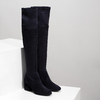 Granatowe kozaki damskie za kolana bata, niebieski, 793-9614 - 26