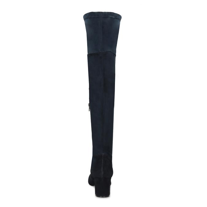 Granatowe kozaki damskie za kolana bata, niebieski, 793-9614 - 15