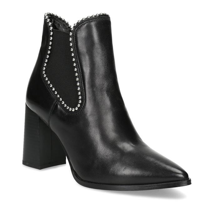 Skórzane botki damskie na słupkach bata, czarny, 796-6660 - 13