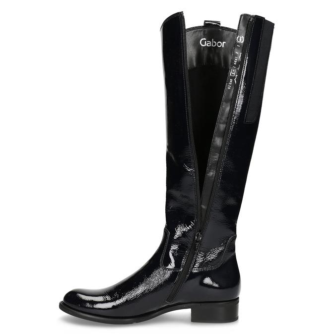 Czarne lakierowane kozaki damskie gabor, czarny, 698-9015 - 17