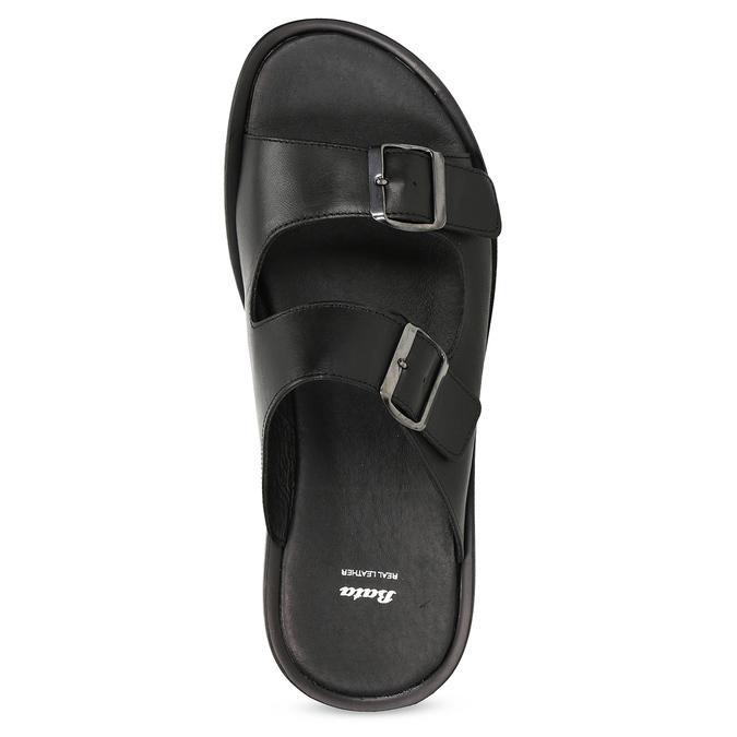 Skórzane klapki męskie zklamrami bata, czarny, 874-6602 - 17