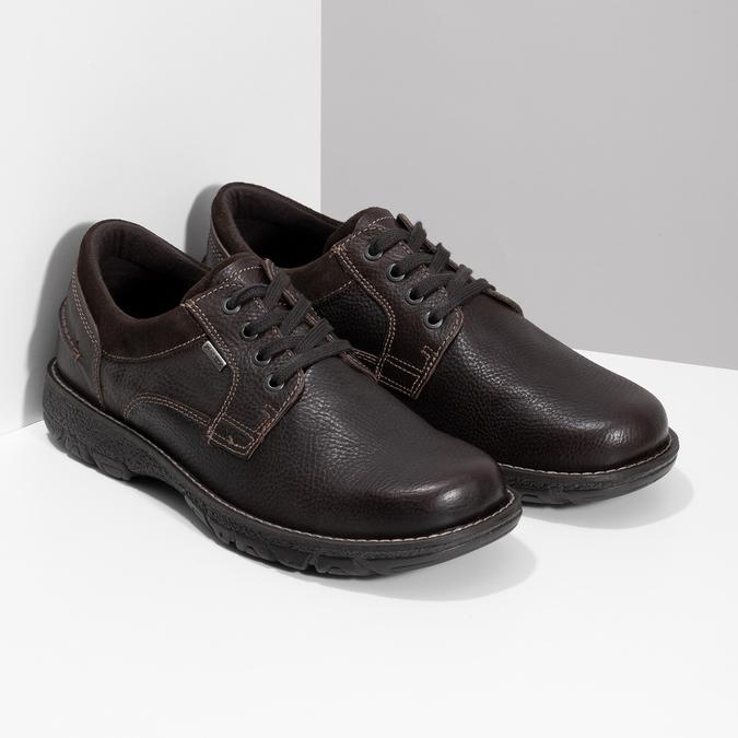 Skórzane półbuty męskie na grubej podeszwie bata, brązowy, 826-4973 - 26