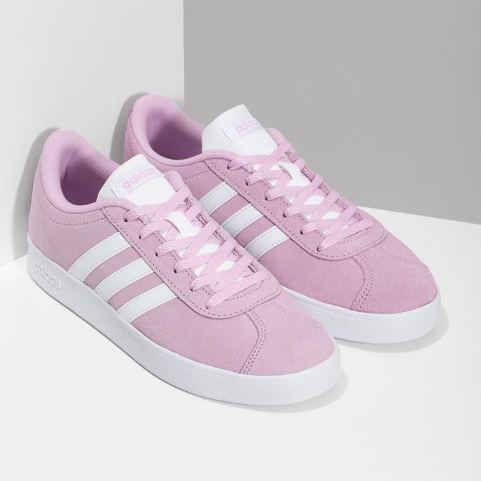 Różowe skórzane trampki dziecięce adidas, różowy, 403-5361 - 26