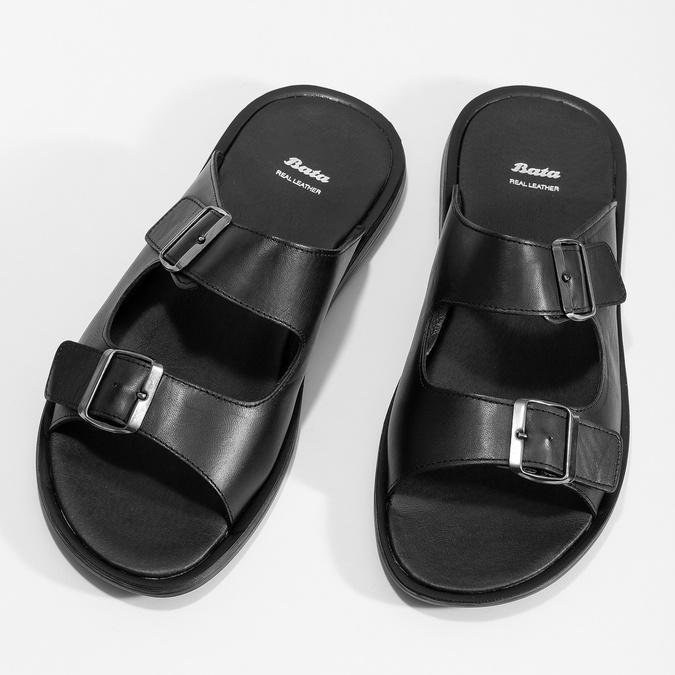 Skórzane klapki męskie zklamrami bata, czarny, 874-6602 - 16