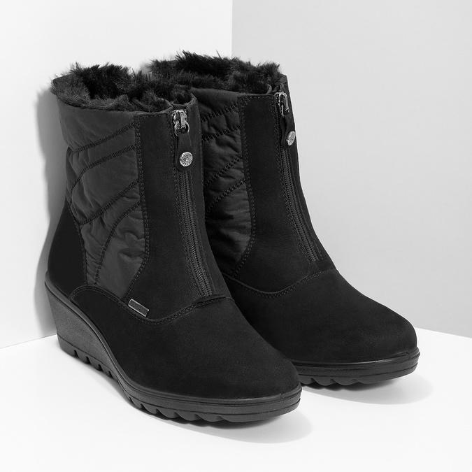Czarne botki damskie zociepliną comfit, czarny, 699-6645 - 26