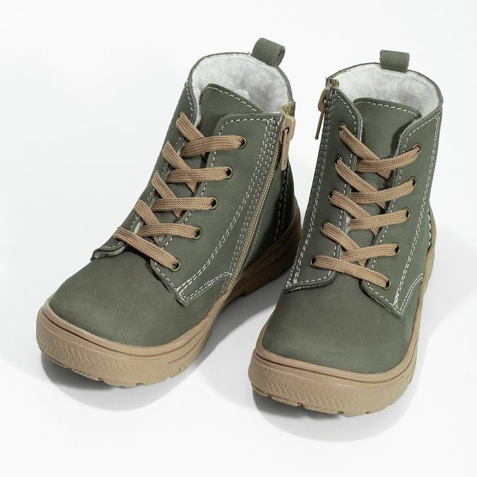 Skórzane zimowe obuwie dziecięce zprzeszyciami mini-b, khaki, 296-3600 - 16