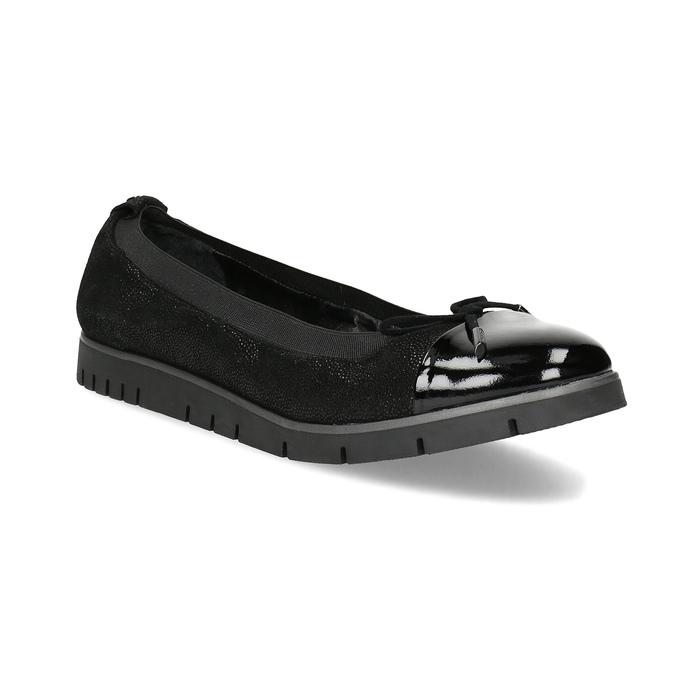 Damskie baletki skórzane czarne flexible, czarny, 526-6663 - 13