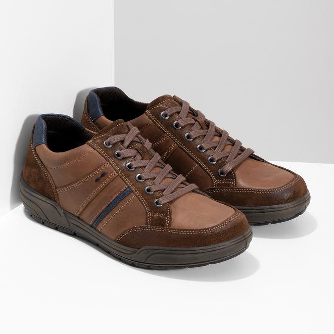 Brązowe skórzane trampki męskie bata, brązowy, 846-4714 - 26