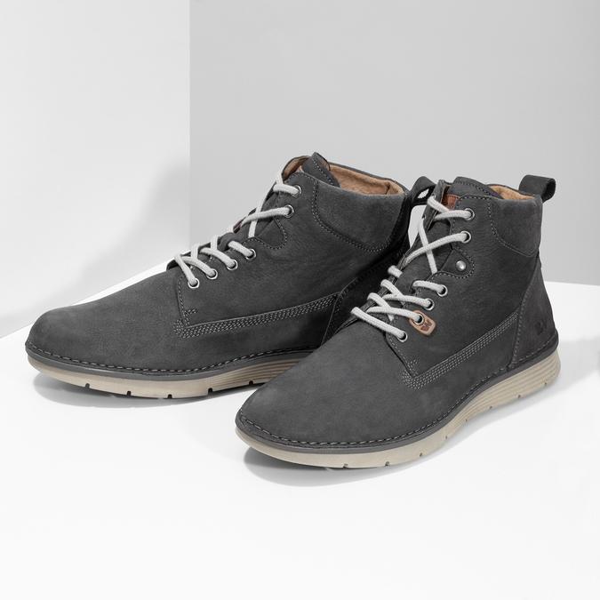 Skórzane obuwie męskie za kostkę, zprzeszyciami weinbrenner, szary, 846-6719 - 16