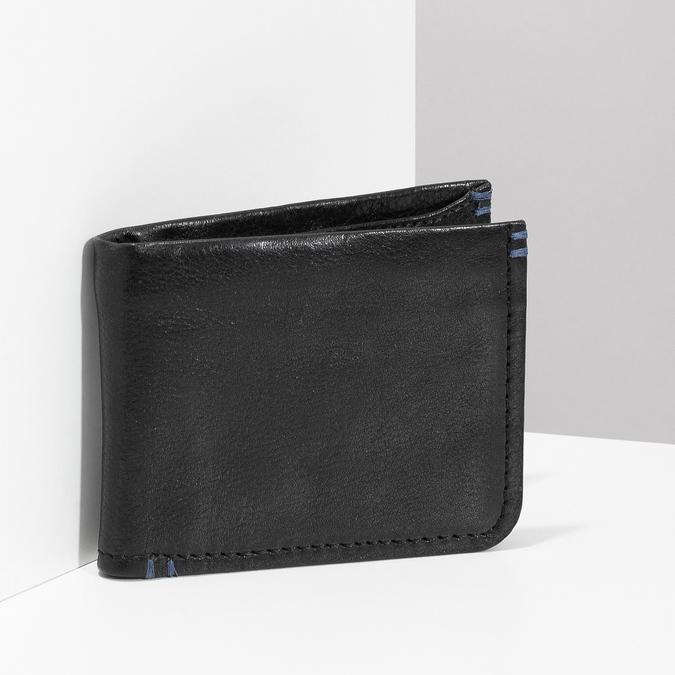 Skórzany portfel męski zobszyciem bata, czarny, 944-6214 - 17