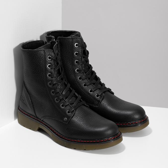 Czarne skórzane obuwie damskie typu chelsea bata, czarny, 596-6732 - 26