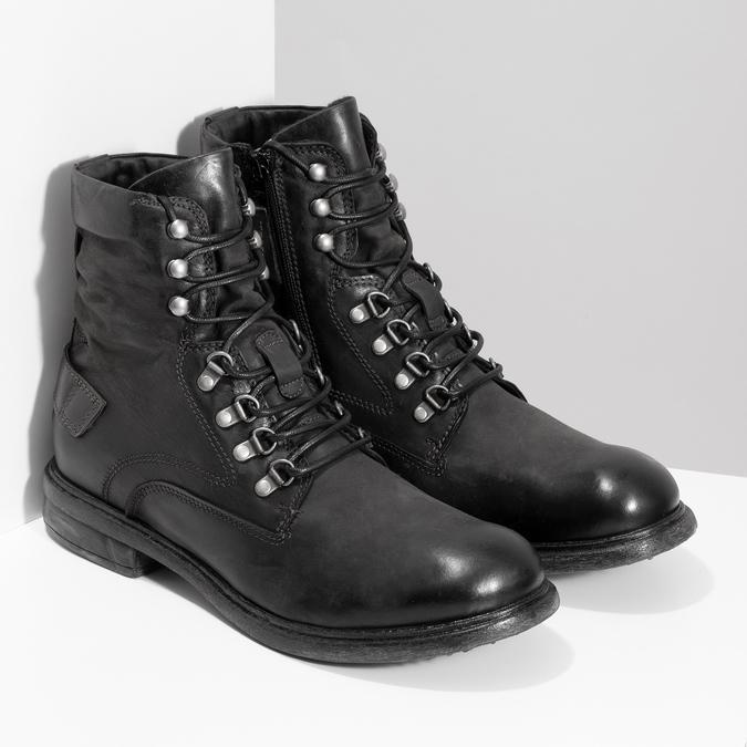 Czarne skórzane trzewiki męskie bata, czarny, 896-6743 - 26