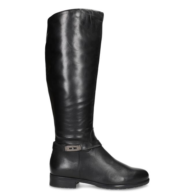 Czarne skórzane kozaki damskie bata, czarny, 594-6676 - 19