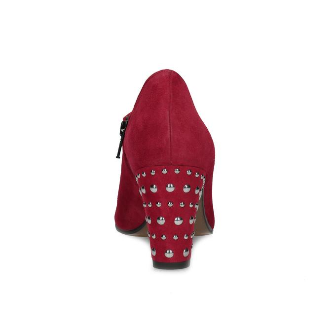 Czerwone skórzane botki zćwiekami bata, czerwony, 723-5661 - 15