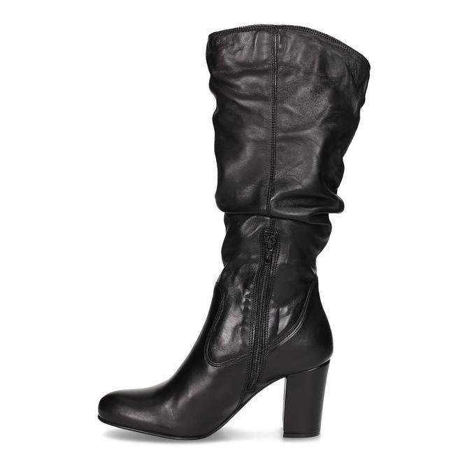 Skórzane kozaki damskie zpomarszczoną cholewką bata, czarny, 794-6664 - 17