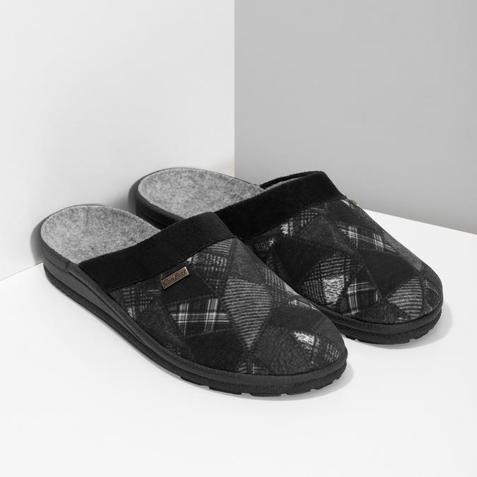 Czarne kapcie męskie bata, czarny, 879-6619 - 26