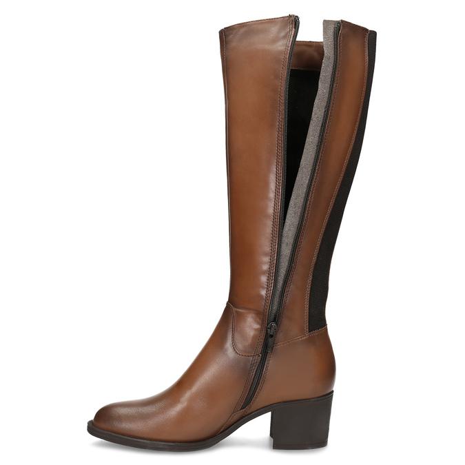 Brązowe skórzane kozaki damskie bata, brązowy, 694-4668 - 17