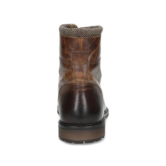 Zimowe skórzane buty męskie za kostkę bata, brązowy, 896-4716 - 15