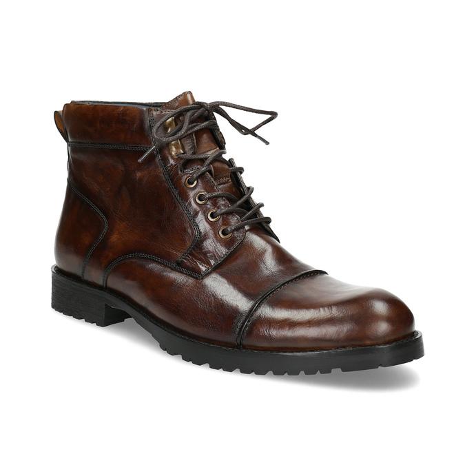 Brązowe błyszczące obuwie męskie za kostkę bata, brązowy, 896-3720 - 13