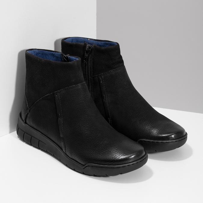 Skórzane botki damskie bata, czarny, 596-6706 - 26