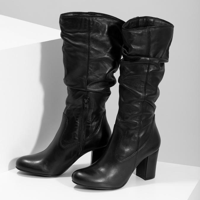 Skórzane kozaki damskie zpomarszczoną cholewką bata, czarny, 794-6664 - 16