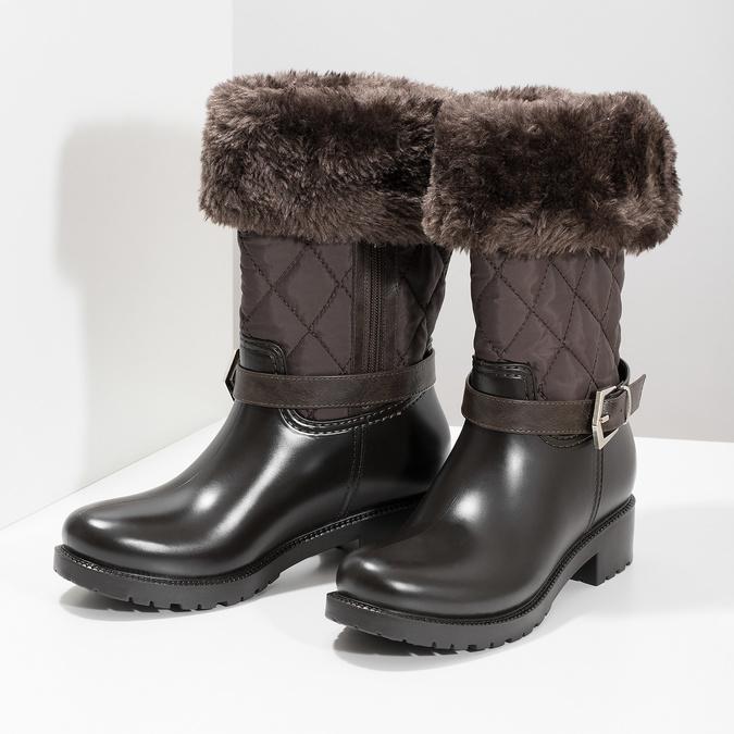 Brązowe śniegowce damskie zfuterkiem bata, brązowy, 592-4602 - 16