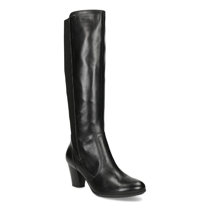 Czarne skórzane kozaki damskie zdzianiną, czarny, 696-6657 - 13