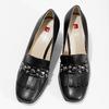 Skórzane czółenka damskie zfrędzlami hogl, czarny, 724-6089 - 16
