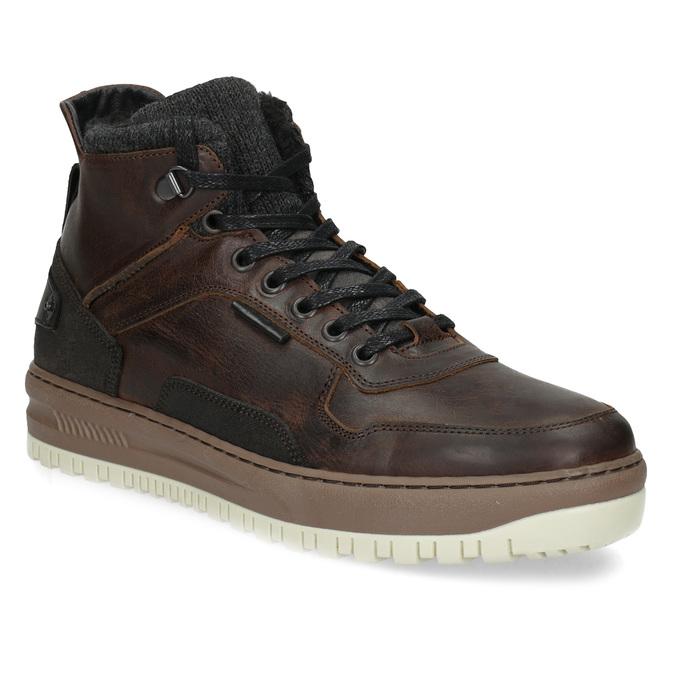 Zimowe skórzane obuwie męskie za kostkę bata, brązowy, 896-3712 - 13