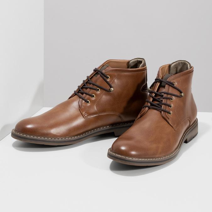 Brązowe obuwie męskie za kostkę, zelastycznymi wstawkami bata-red-label, brązowy, 821-3610 - 16