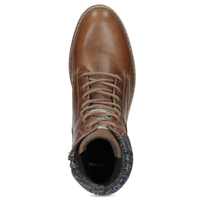 Brązowe skórzane obuwie męskie za kostkę bata, brązowy, 896-3713 - 17