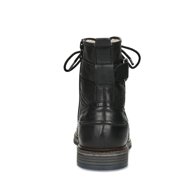 Skórzane obuwie męskie za kostkę, zfuterkiem bugatti, czarny, 826-6030 - 15