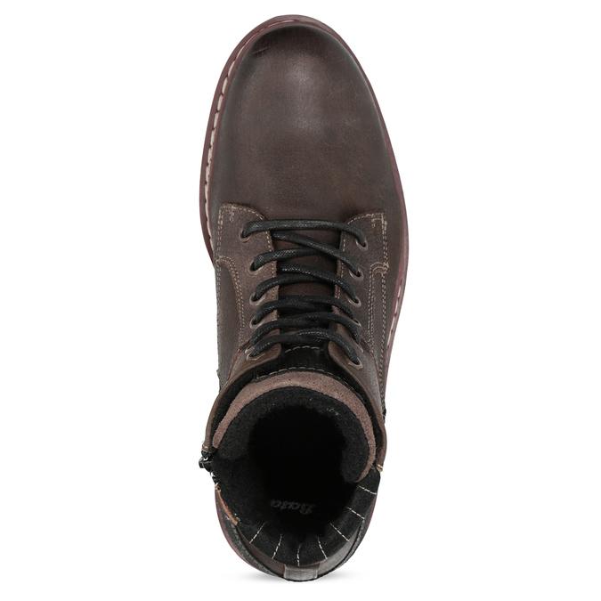 Skórzane obuwie męskie za kostkę bata, brązowy, 896-4666 - 17