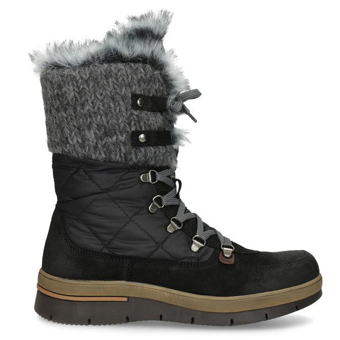 Czarne zimowe obuwie damskie zfuterkiem weinbrenner, czarny, 596-6755 - 19