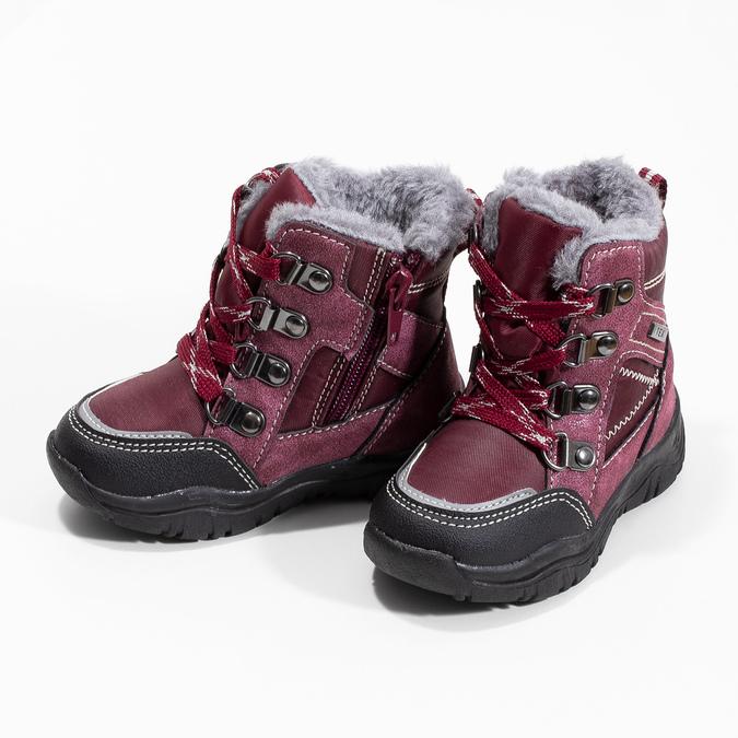 Bordowe sznurowane śniegowce dziewczęce, czerwony, 199-5613 - 16