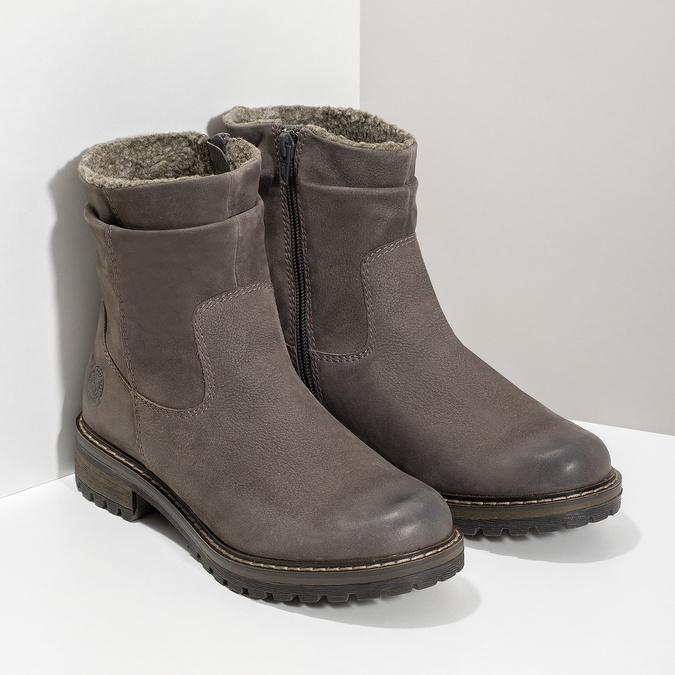 Skórzane kozaki damskie zociepliną bata, brązowy, 596-4703 - 26