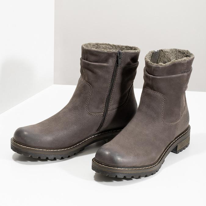 Skórzane kozaki damskie zociepliną bata, brązowy, 596-4703 - 16