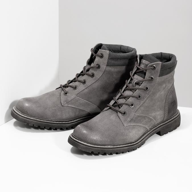 Szare skórzane obuwie męskie za kostkę weinbrenner, szary, 896-2693 - 16