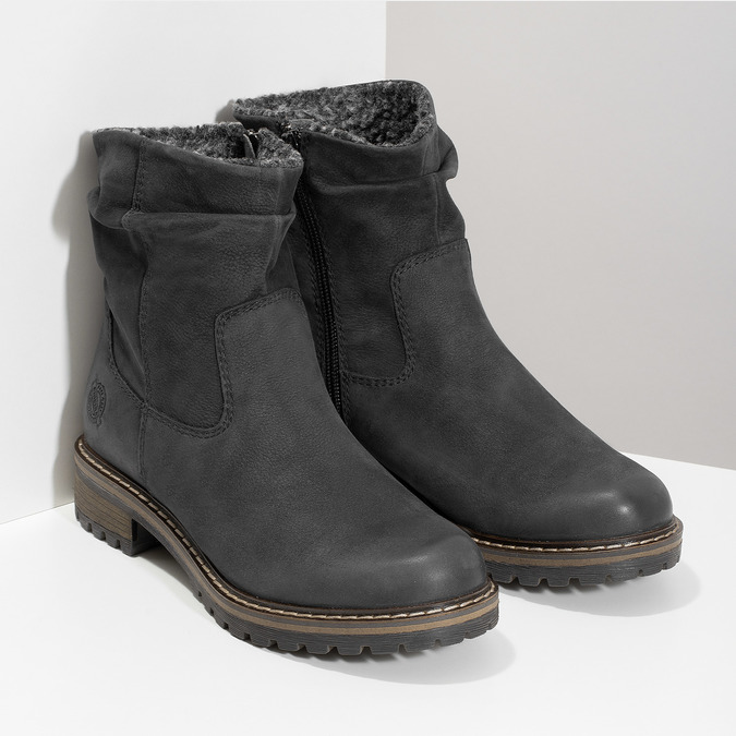 Skórzane kozaki damskie zociepliną bata, czarny, 596-6703 - 26